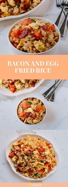Make this bacon and egg fried rice for dinner, or even breakfast. This recipe trades in the well-known Chinese side dish of pork or shrimp fried rice for a more breakfast friendly version. The classic bacon and eggs breakfast needed an upgrade, and to make this super easy  updated version, you'll need oil, beaten eggs, bacon, onion, cooked rice and soy sauce.