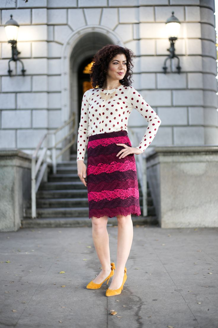 Thanksgiving outfit with Banana Republic ombre lace midi pencil skirt and J crew sequin polka dot cardigan | mustard shoes | burgundy and mustard color combination | colorful outfit