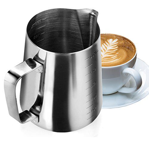 My Pitcher Measuring  Professional 188 Stainless Steel Measuring Cup Milk Frothing Pitcher with Measurement Marks and 185 Ounces Capacity  Superb for Precision Pouring and Espresso Coffee Machine * Click affiliate link Amazon.com on image to review more details.