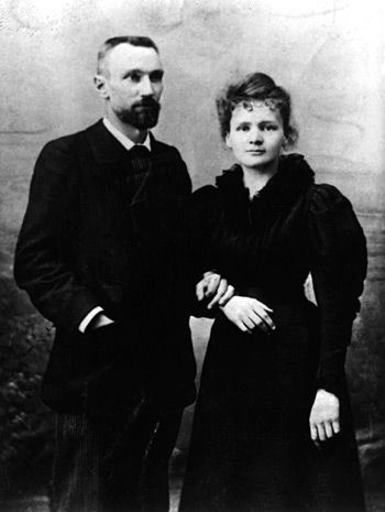 Wedding photo of Pierre and Marie Curie, 1895....Marie Curie was a Polish physicist and chemist who lived between 1867-1934. Together with her husband, Pierre, she discovered two new elements (radium and polonium, two radioactive elements that they extracted chemically from pitchblende ore) and studied the x-rays they emitted. She found that the harmful properties of x-rays were able to kill tumors. By the end of World War I, Marie Curie was probably the most famous woman in the world....