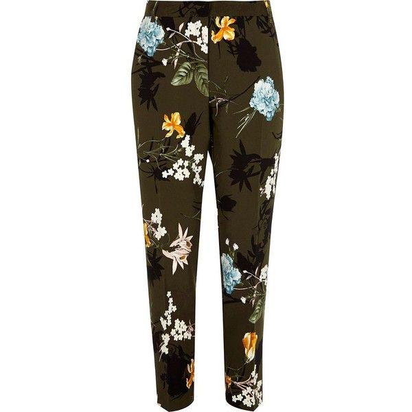 River Island Khaki green floral tapered trousers ($76) ❤ liked on Polyvore featuring pants, khaki, tapered pants, women, tall pants, peg leg pants, flower print pants, green pants and brown khaki pants