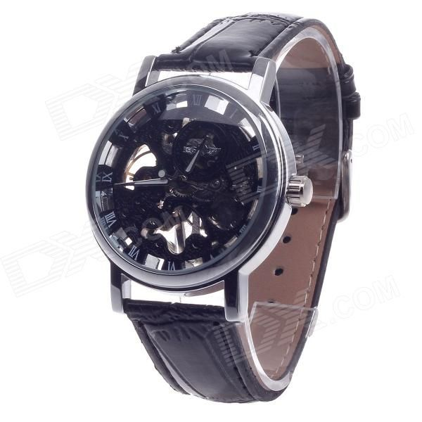 Stylish Roman Numerals Scale Hand-Cranking Mechanical Men's Analog Wrist Watch - Black + Silver