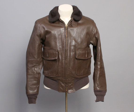 70s Authentic G-1 Leather JACKET / Shearling Collar Brown Goatskin ...
