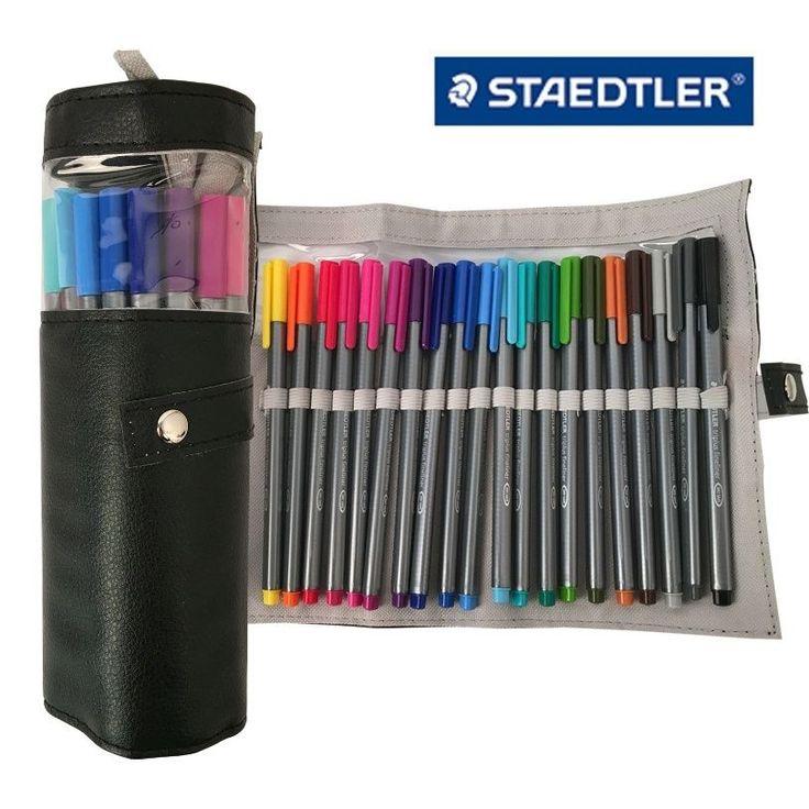 Staedtler Triplus Fineliner 334 PC20 Color Ink Pen 0.3mm Pencil Case Black #Staedtler