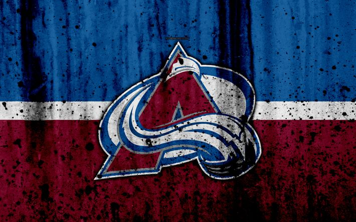 Download wallpapers 4k, Colorado Avalanche, grunge, NHL, hockey, art, Western Conference, USA, logo, stone texture, Central Division