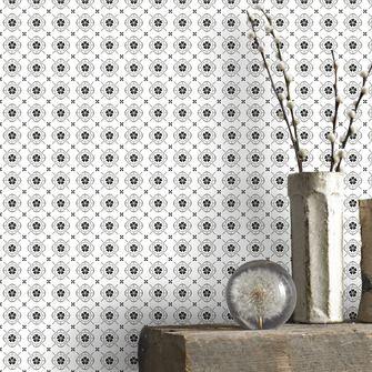Vliesbehang mini vintage bloem zwart-wit (dessin 33-268)