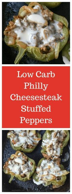 Melted cheese mixed with beef and onions in a bell pepper-low carb, easy and delicious.