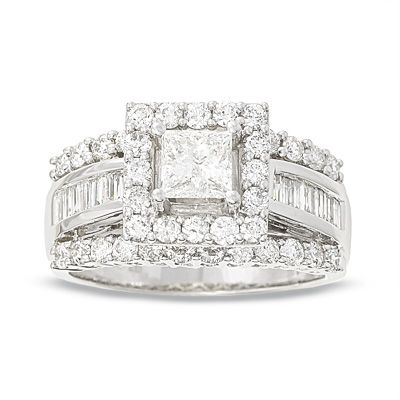 This Is Mine Only It A Round Diamond Not Princess Cut Frame Engagement Ring In White Gold