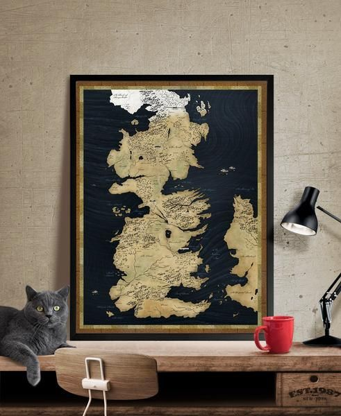 Large Map, Vintage Map, Map Print, Game of Thrones Map Print, Wall Art, Map Poster (161)