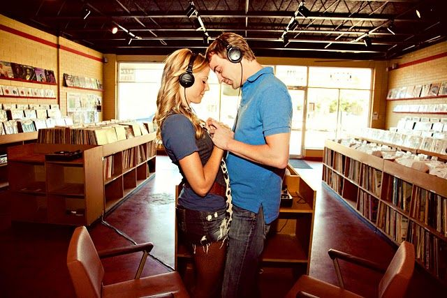 Cool music themed engagement photos.