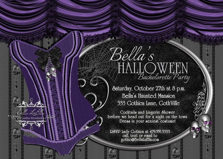 Halloween Bachelorette Party, Gothic Bachelorette Invitation, Gothic Lingerie Party, Bachelorette Invitation by BellaLuElla on Etsy https://www.etsy.com/listing/158332989/halloween-bachelorette-party-gothic