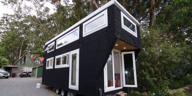 Matt Bain and Jodie Williams' house is 7m long by 2.5m wide and is under the weight limit for mobile houses of 3.5 tonne. Photo / Emily Norman