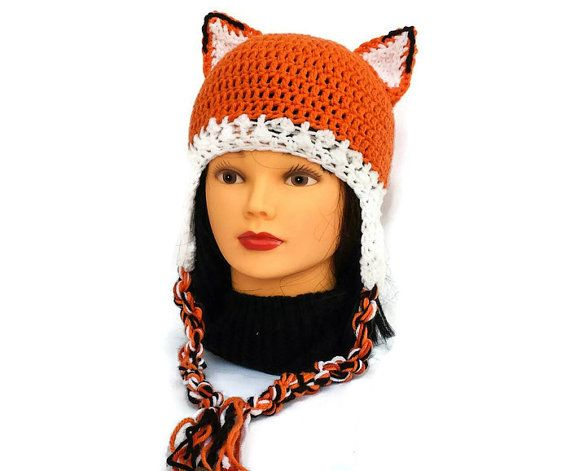 Check out this item in my Etsy shop https://www.etsy.com/ca/listing/475582058/adult-fox-ear-hat-with-flaps-braids