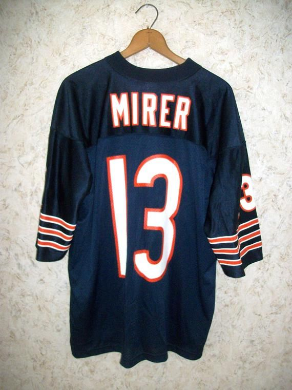 0212bf7ba8a 90s CHICAGO BEARS Mirer Nike Sports Jersey Screenprinted Navy Orange NFL  Football Oversized Baggy Grunge Boho Unisex Mens Large