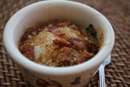 Baked Eggs with Spinach and Bacon   Single Servings   Pinterest