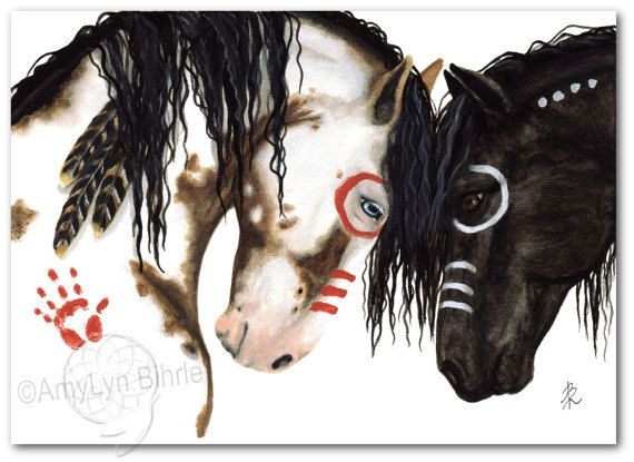 Majestic Horses Native Spirit Feathers Pinto War Paint Signed- Fine ArT Prints by Bihrle mm134