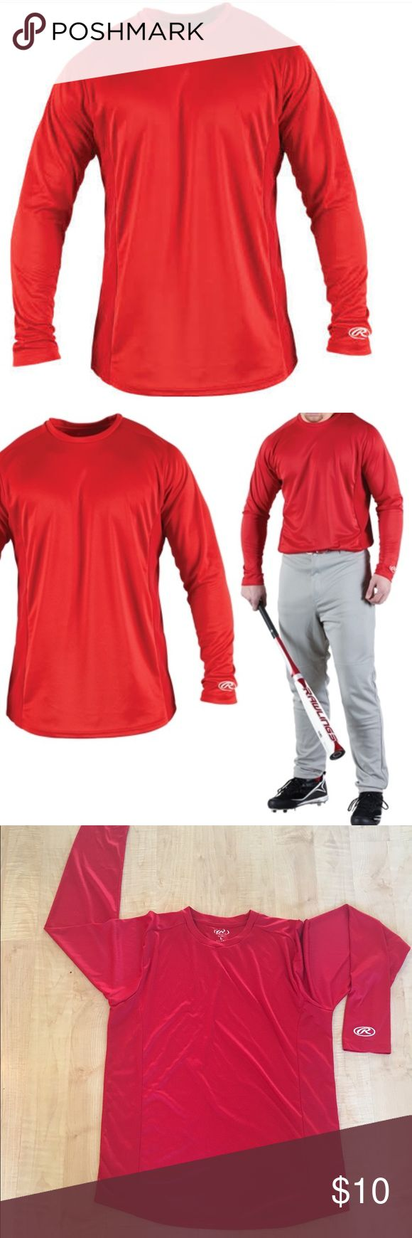 Rawlings Men's Long Sleeve Shirt Rawlings Men's Long Sleeve Performance Custom Red Baseball Shirt PRO DRI size L , has been washed a few times. Stock photos are just an example of the fit. Rawlings Shirts Tees - Long Sleeve