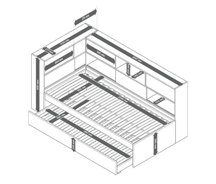 1699,00 zł Łóżko dziecięce, które zaskakuje praktyczną przestrzenią do przechowywania. Rozsuwana powierzchnia do spania dla gości może na przykład służyć jako pojemnik na pościel.