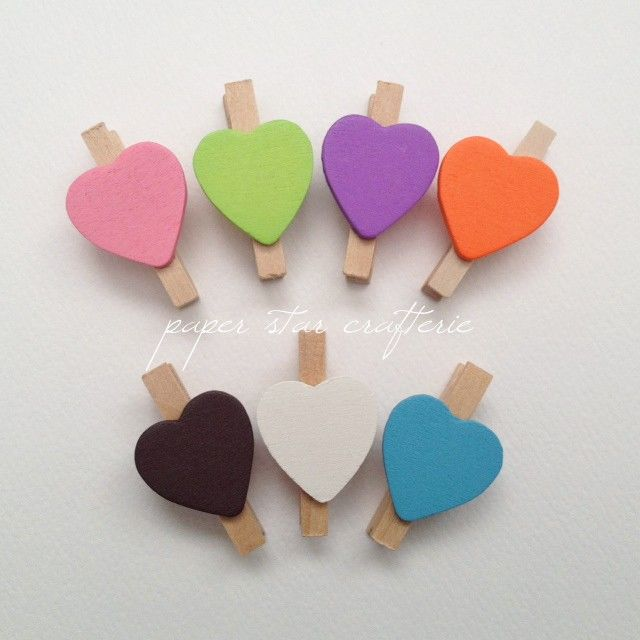 Mini Wooden Love Heart Peg Clip for Party Garlands and Favours - 25 pieces - by paperstar on Craftumi