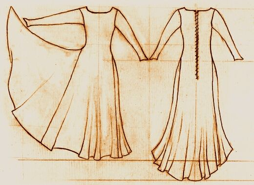 14th Century fitted gown/ garment. Bliauts were fitted garments typical to this time period.
