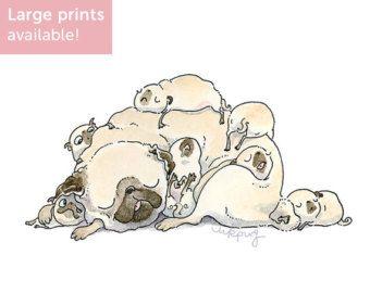 Vier Mops Posen  Mops Kunstdruck guten Morgen Kunst von Inkpug
