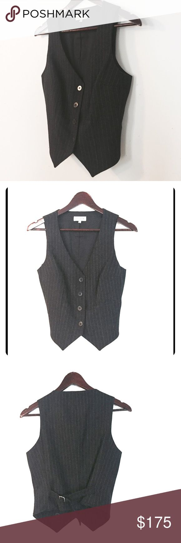FALL PREVIEW - Jigsaw Pinstripe Suit Vest Coming soon Show the boys how pinstripes are done properly with this Made in England creation by Jigsaw.   Shell: 96% Wool, 4% lycra. Lining is 40% polyamide, 3% elastane, 57% Viscose. UK size 10. Jigsaw Jackets & Coats Vests
