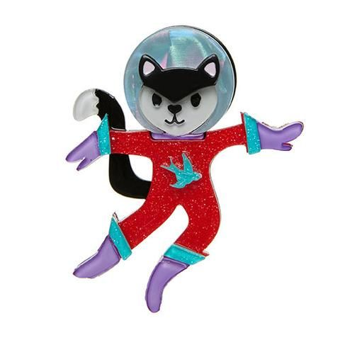 """Erstwilder Limited Edition Cosmic Kitty Brooch. """"She's waited nine lifetimes to make the trek into outer-space. Her only concern in space no one can hear you purr."""""""