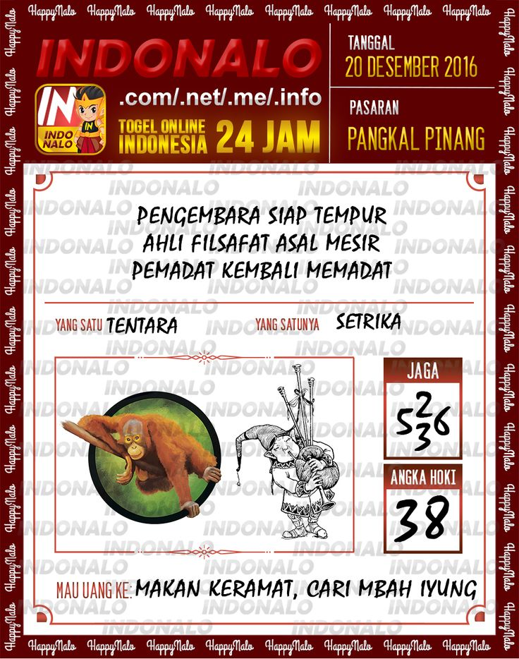 Undian Lotre 4D Togel Wap Online Live Draw 4D Indonalo Pangkal Pinang 20 Desember 2016