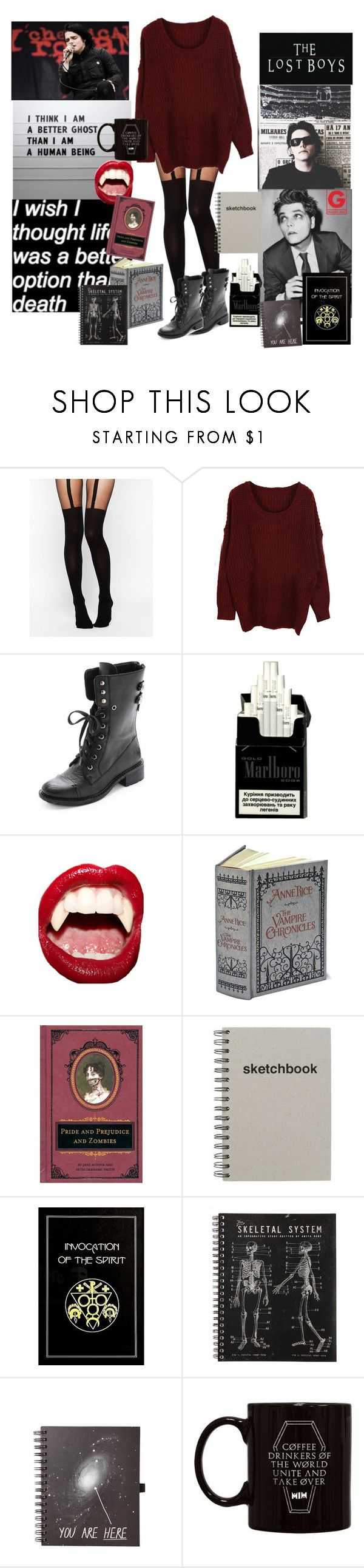 """Snowed In With Gerard Way"" by witchblood ❤ liked on Polyvore featuring ASOS, Sam Edelman, ...Lost, Manic Panic, The Damned, women's clothing, women's fashion, women, female and woman"