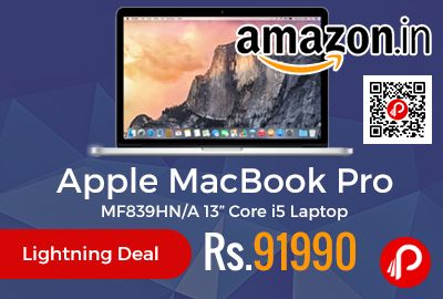 """Amazon #LightningDeal is offering 14% off discount on Apple MacBook Pro MF839HN/A 13"""" Core i5 Laptop at Rs.91990 Only. 13 inch model, Intel Core i5 processors, Intel Iris Graphics 6100, Up to 10 hours of battery life, Force Touch trackpad, The combination of cutting-edge technology, a stylish exterior and the brand name make this laptop a must-have product.  http://www.paisebachaoindia.com/apple-macbook-pro-mf839hna-13-core-i5-laptop-at-rs-91990-only-amazon/"""