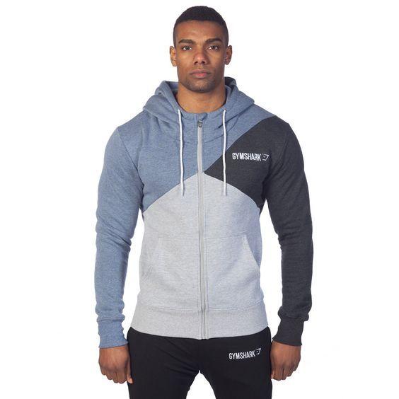 GymShark Fit Tri-Panel Thermal Hoodie - Blue Mens hoodies | GymShark International | Innovation In Fitness Wear (L):