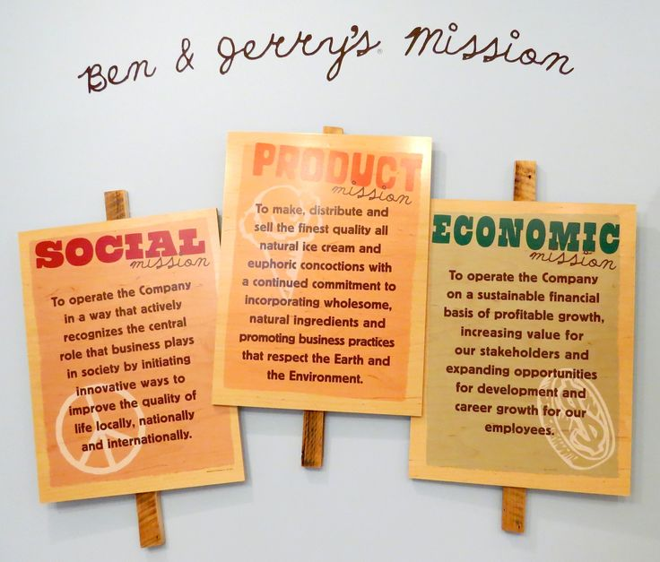 ben and jerry social mission We follow ben and jerrys marketing strategies because of their creativeness and unique approach to customer focus  social mission focus ben and jerry's brand .