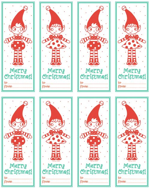 free printable christmas elf tags