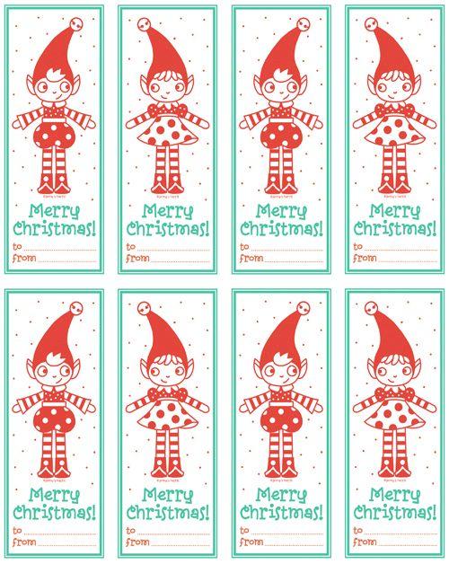 free printable christmas elf tags