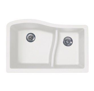 Swanstone Double Basin Undermount Granite Kitchen Sink. No faucet hole and smaller rim dimensions, they easily mount under any countertop material including granite/quartz, solid surface and tile.  Virtually indestructible-will not damage from kitchen use. The same features as the drop-in version in a dedicated undermount model.  Made with 80% quartz stone-only a diamond is harder.  Standard sink size.  Ideal for remodeling or new construction.