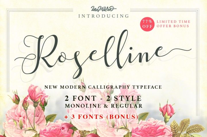 Roselline Script is a new Modern Calligraphy Typeface Fonts collection from Ianmikraz studio, combines from copperplate to contemporary typeface, classic, beauty and elegant touch.