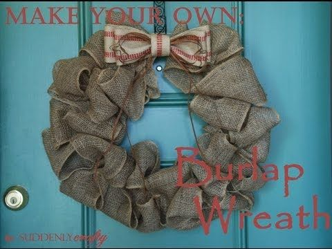 ▶ Suddenly Crafty- How to Make a Burlap Wreath - YouTube