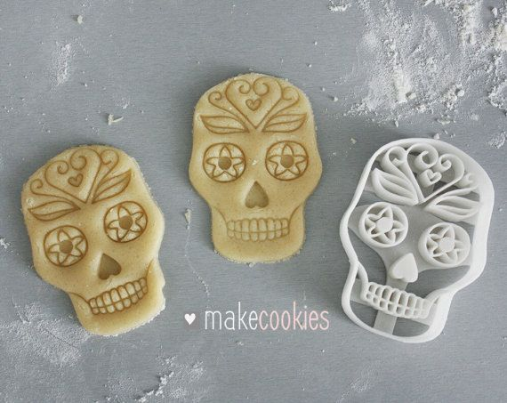 Mexican Skull Cookie Cutter  Size: 85x60 mm (3,3 x 2,4), height - 14 mm/12 mm (internal) Weight: 16 g  USAGE: Our cookie cutters are super handy, easy-to use (even if you bake the first time in your life), make clean cut edges and will serve you for a long time. Works well with different types of dough (gingerbread, sugar, etc.) For the best result use chilled/refrigerated dough.  MATERIAL: Our cookie cutters are made of high quality PLA plastic - non-toxic, biodegradable plastic de...
