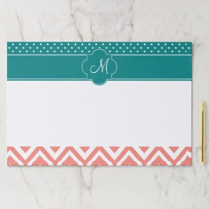 Monogram Coral Chevron with Teal Polka Dot Pattern Paper Pad - monogram gifts unique design style monogrammed diy cyo customize