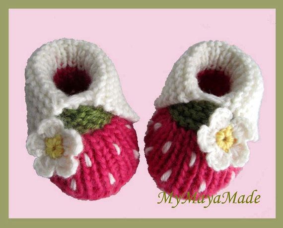 White Daisy Hot Pink Wool Baby Girl Booties  Size by MyMayaMade, $22.99