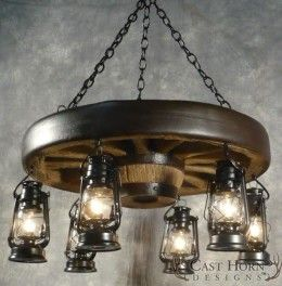 Small Wagon Wheel Chandelier with Black Lanterns by Cast Horn Designs