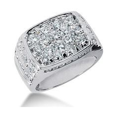 Round Brilliant Diamond Mens Ring in 14k White Gold (44,400 SAR) ❤ liked on…