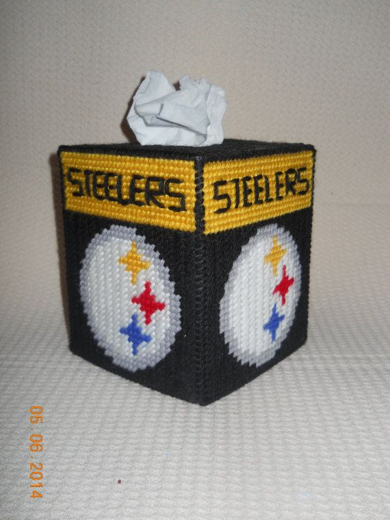 Steelers Tissue Box cover in Plastic canvas