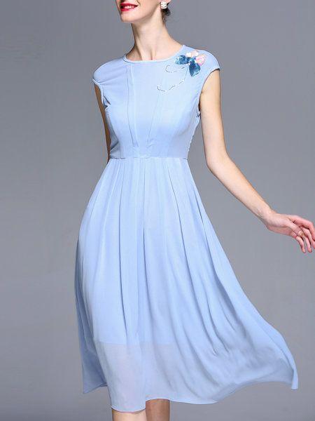 Vestido Modesto Bridemaides - Azul claro com broche de flor - Simple Chiffon A-line Short Sleeve Midi Dress Stylewe