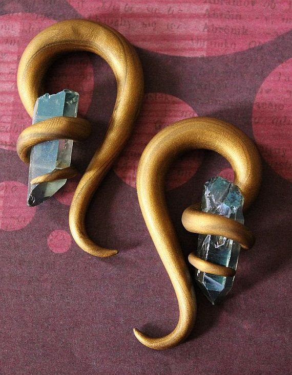 0g Antique Bronze and Blue Crystal Plugs by KrustallosPlugs, $23.00