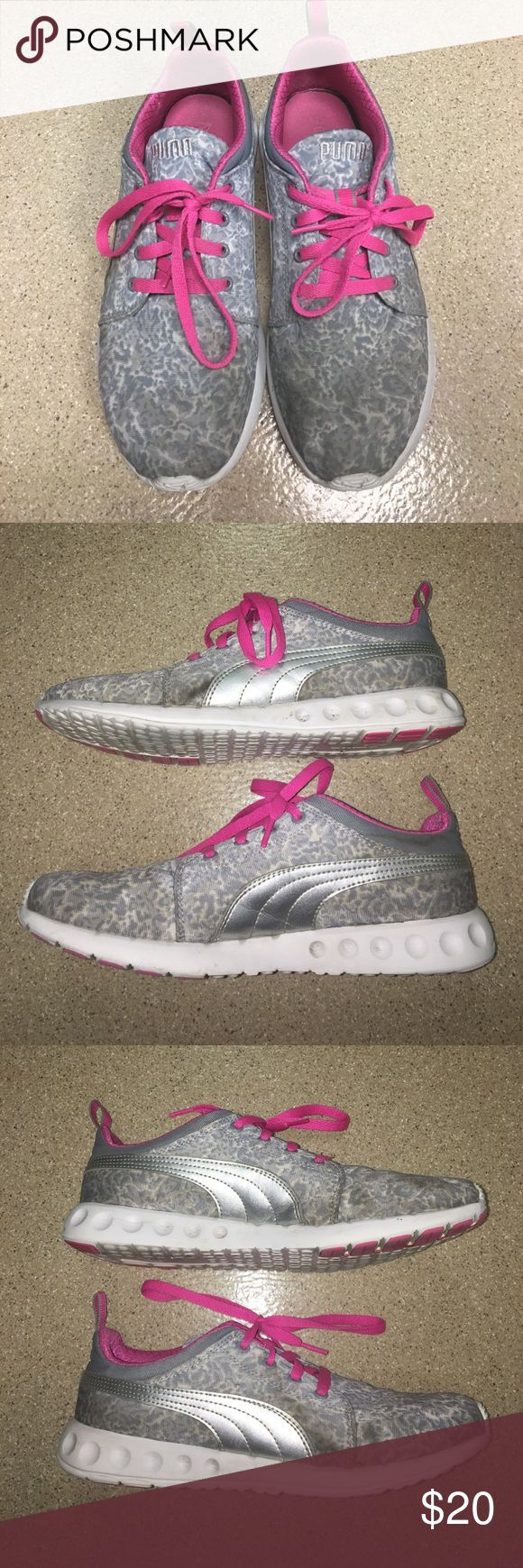 LADIES PUMA RUNNING SHOES Women's size 10 grey/white/pink print running sneakers from PUMA; gently loved; super comfortable, lots of cushion; have lots of life left in these babies! Will run through wash before shipping out! 🛍👍🏼👌🏼💜💕 (Always open to reasonable offers!) Puma Shoes Athletic Shoes