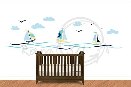 Nautical Theme Sailboat Vinyl Wall Decal - Infant and Children's Wall Decal - Nautical Decor for Bedroom & Playroom