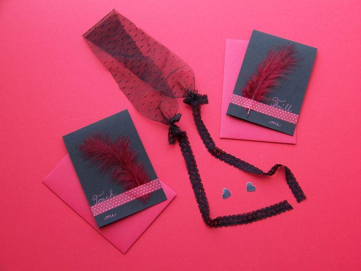 Cards with feathers * #handmade #card #love #erotica #lovers #paper #handmade #ladylu #luxus #pirko #ruda #prani #lechtiveprani #laska #milenci
