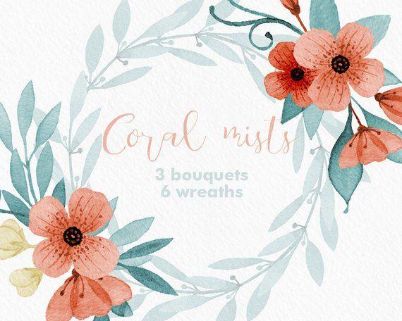 Coral Flowers Clipart Bouquet Floral Clip Art Graphiques De
