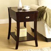 Side Table with Shelf - Espresso